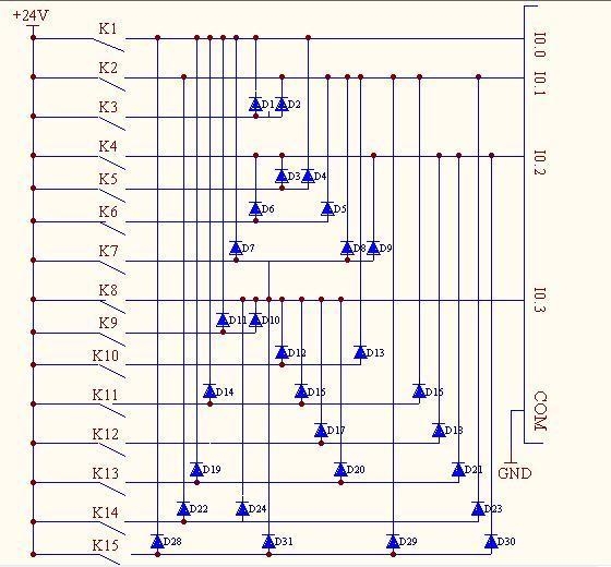 4位二进制数编码式组合构成的输入控制电路