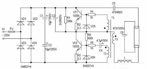学工控    本电路由整流滤波电路,功率开关与驱动电路,镇流器与灯丝