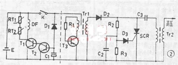 1。工作程序如下: 1.反时钟旋转燃气开关,井向下按,可以看见高压产生器发出的脉冲火花--同时电磁阀DF动作打开燃气通道-- 点燃长明火。 2.反时钟转动水温开关,自来水经由水膜阀打开水气联动装置,把燃气送到主燃烧器,由长明火引燃产生大火,冷水在燃烧室通过高效热交换器后立即变成热水。 电气控制部分见图2,虚线左边是熄火、缺氧保护及快速启动时间补偿电路,右边是高压产生器。保护部分由熄火保护热偶RT1,缺氧保护热偶RT2及电磁触DF和时间补偿电路T1、T2、R1、C1、D1组成,RT1、RT2反向串联,两个