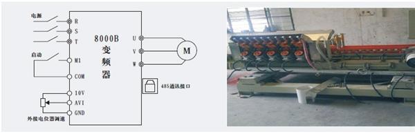 三晶电气  控制方式:       三晶变频器主要应用在陶瓷磨边机的传送带