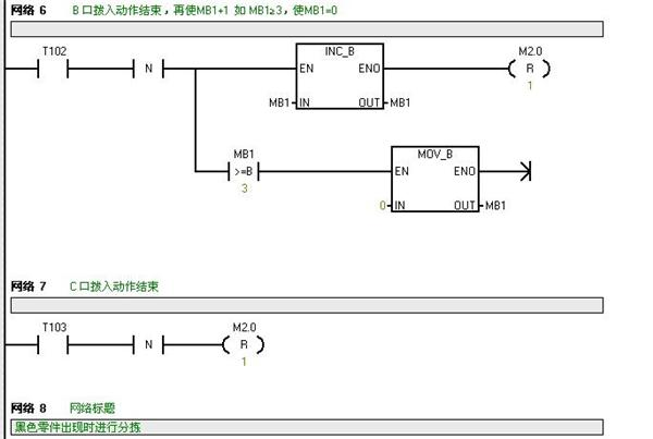 1输出1秒脉宽的脉冲驱动,c口分拣拨入装置由q0.