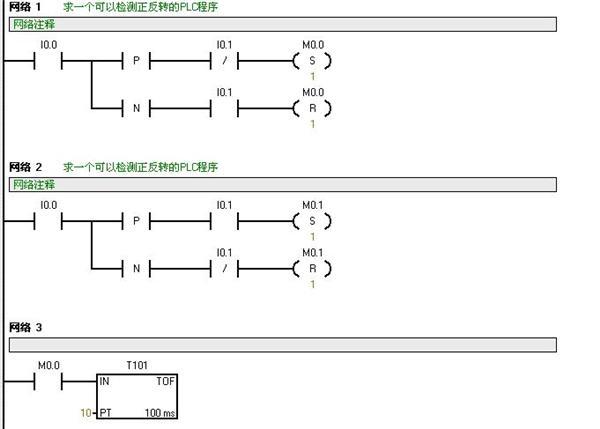 程序说明:I0.0为A接近开关的输入口,I0.1为B接近开关的输入口。当轮子转动时只有下面二种情况: 1、当挡板挡住A开关时(即I0.0=1的前沿),如I0.1=0,则使M0.0置1。当挡板离开A开关时(即I0.0=1的后沿),如I0.1=1,则使M0.0置0。即轮子每转一圈,M0.0发出一个脉冲,而M0.1 始终=0,此时为正转。 2、当挡板挡住A开关时(即I0.