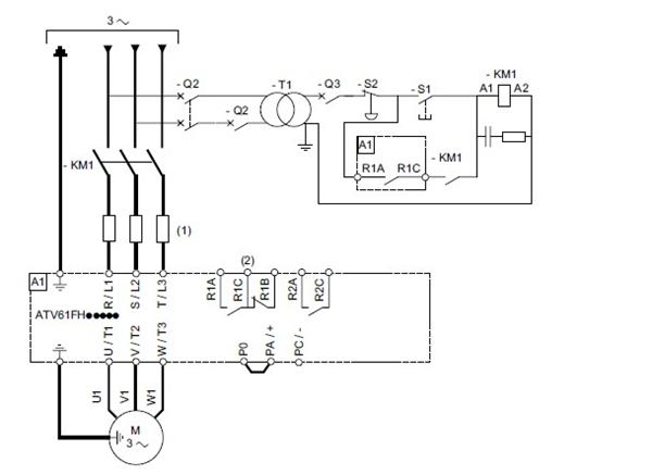 (1) 线路电抗器( 如果使用)。 (2) 故障继电器触点,用于远程发送变频器的状态信号。 注意: 给变频器附近的所有电感电路或者与连接至同一电路的所有电感电路( 继电器、接触器、电磁阀等) 安装干扰抑制器。 控制连接图 控制卡连接图