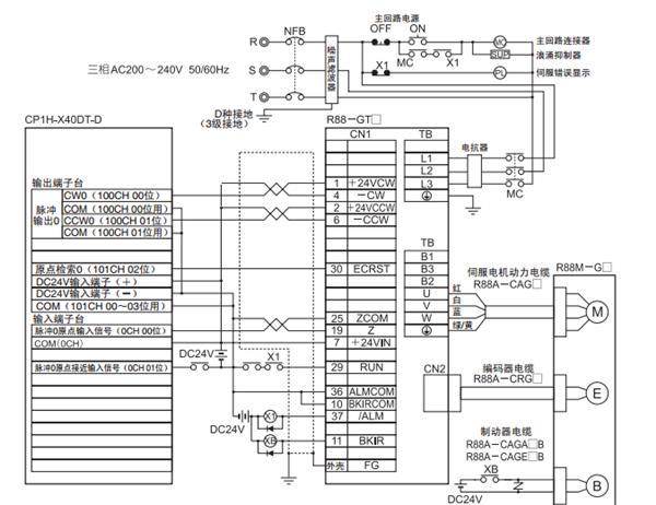 欧姆龙cp1hplc与伺服接线图