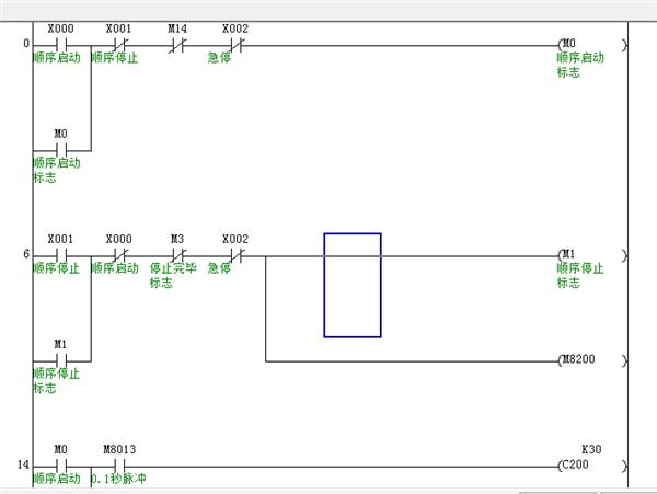 做了一个三台电动机顺序启停程序, 其中用到c200双向计数器和比较