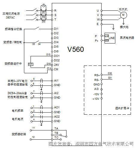 以引风机为例,v560系列变频器的控制线路如下图2所