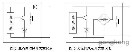 5.2有源两线制传感器   有源两线传感器(如接近开关等),分直流与交流,直流两线制开关分二极管极性保护图5与桥整流极性保护图6,前者在接PLC时需要注意极性,后者就不需要注意极性。 直流两线制开关量仪表与漏型拉电流PLC DI模块的接线如图7所示:
