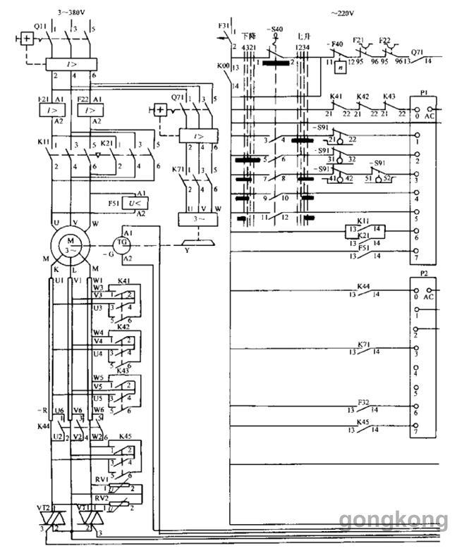 电路特点: 1, 主令控制器的档位:4-0-4