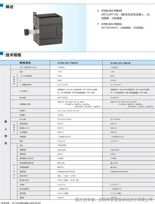 订货号 sm 231 混合温度输入模块,2点ntc或pt100,2点0~20ma电流或&