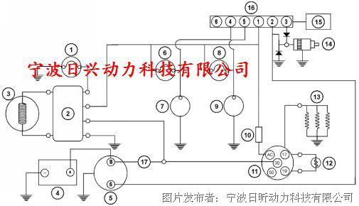 (2)调压器,(3)交流发电机,(4)蓄电池,(5)电动起动马达,(6)警示灯(机油