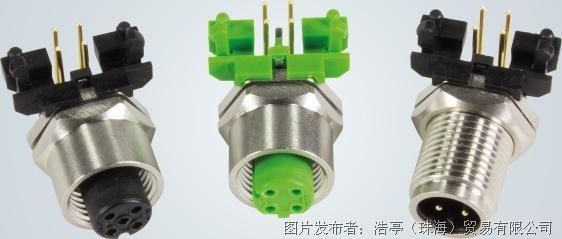 利用其90°倾斜结构,m12圆形连接器可相当稳妥地安装在印刷电路板上.