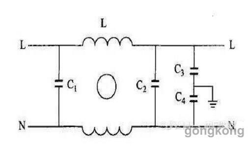 图1电源线滤波器基本电路图