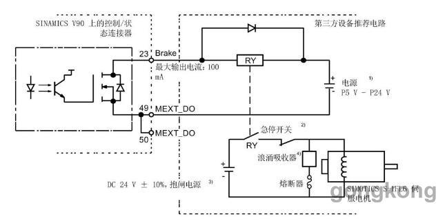 图2-4 200v低惯量系列v90抱闸接线