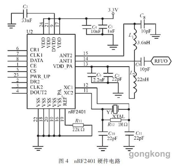 需要注意的是,nRF2401的供电电压范围为1.9~3.6 V,但引脚可直接收单片机5 V的I/O口相联。为了使nRF2401更好地工作,最好进行分压处理。   4 系统软件总体设计   根据设计要求,系统实现功能及软件总体设计如图5所示。系统包含两大部分,无线服务终端和CAN总线通信系统。无线服务终端由nRF2 401和STC89C52组成,可以向CAN总线通信网络中的任一节点发送和读取数据。CAN总线通信系统,由3个节点组成,一个节点上接无线收发器nRF2401负责与无线终端系统通信,另外2个节