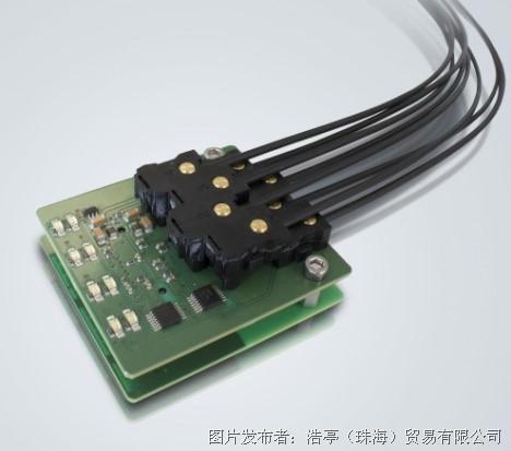 """""""电气连接   光学传输""""的原理一直延伸到设备内部的印刷电路板中."""