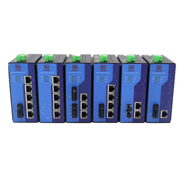 深圳讯记3电2光工业以太网交换机5口百兆工业级交换机