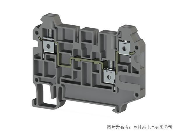 克林森 螺丝夹紧导轨单进线双出线端子AVK 4CE