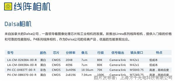 p4系列线阵相机,作为dalsa公司的经典产品,优越的性能表现出众.