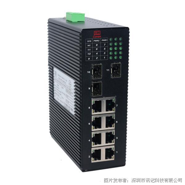 讯记Bypass功能全千兆工业交换机