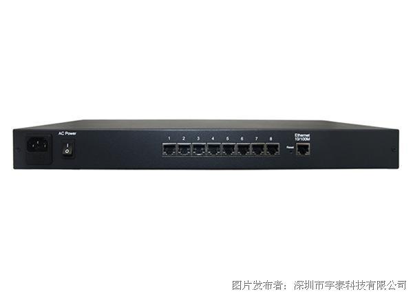 宇泰 UT-6608U 10/100M TCP/IP转8口RS-232/485/422机架式串口服务器
