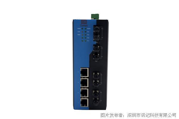 深圳讯记百兆6电2光环网管型工业级以太网交换机