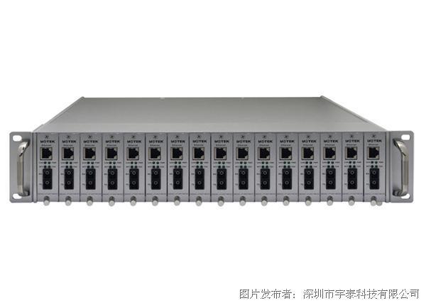 宇泰科技UT-2U16 16槽冗余双电源光纤收发器机箱