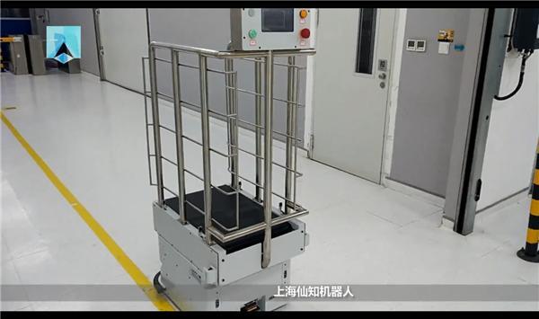 大陆电子试车-皮带式产线对接机器人-智能避障停障-1