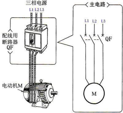 电动机的主电路(使用断路器的情况)