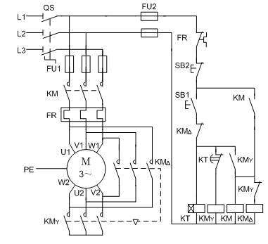 电动机y—Δ降压启动控制线路的plc改造控制线路图及梯形图